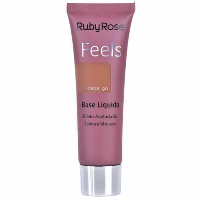 base líquida Feels Cor Cacau 90 da Ruby Rose