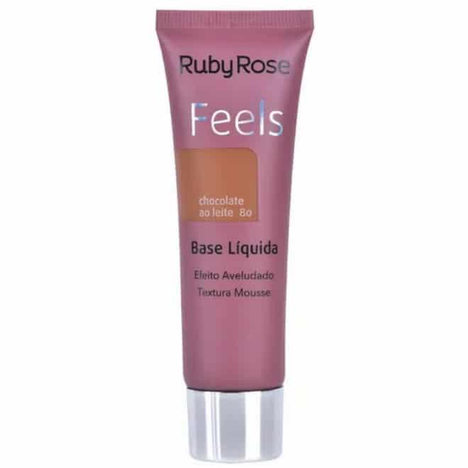 base líquida Feels Cor Chocolate ao Leite 80 da Ruby Rose