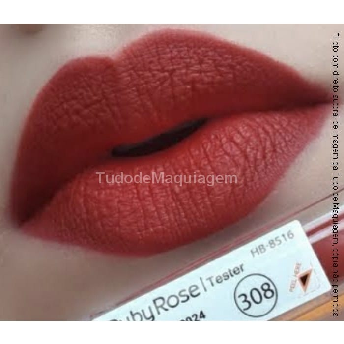 batom matte Ruby Rose Cor 308