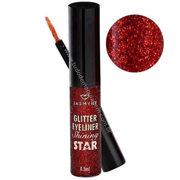 Delineador Glitter Shining Star da Jasmyne Cor vermelho